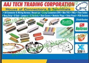 Electronic Connectors, Electronic Terminals, Crimp Connector CPU, FRC Connectors, Flow Solder Connectors, Berg Strips, D Sub Connectors, Integrated Circuit Sockets, Dust Covers, Modular Plugs, Solar Panels, Printed Circuit Board Sockets, TVS Connectors, Jumpers, IC Sockets, RM TVS Connectors,Crimp Connectors, Connectors, Flow Solder, All Crimp Connectors CPU, R M TVS, Berg Strip, D Sub, IC Sockets, FPC Cords, PCB Sockets, Terminals, Wiring Harnessess, Charging Cables, Charging USB Cables