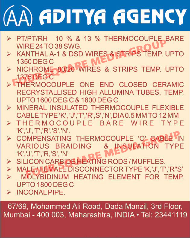 Thermocouple Bare Wire, PT Thermocouple Bare Wire, DSD Wires, DSD Strips, Nichrome Wires, Nichrome Strips, Thermocouple One End Closed Ceramic Recrystallised High Aluminium Tubes, K Type Mineral Insulated Thermocouple Flexible Cable, J Type Mineral Insulated Thermocouple Flexible Cable, T Type Mineral Insulated Thermocouple Flexible Cable, R Type Mineral Insulated Thermocouple Flexible Cable, S Type Mineral Insulated Thermocouple Flexible Cable, N Type Mineral Insulated Thermocouple Flexible Cable, K Type Thermocouple Bare Wire, J Type Thermocouple Bare Wire, T Type Thermocouple Bare Wire, R Type Thermocouple Bare Wire, S Type Thermocouple Bare Wire, N Type Thermocouple Bare Wire, K Type Braided Compensating Thermocouple O Cable, J Type Braided Compensating Thermocouple O Cable, T Type Braided Compensating Thermocouple O Cable, R Type Braided Compensating Thermocouple O Cable, S Type Braided Compensating Thermocouple O Cable, N Type Braided Compensating Thermocouple O Cable, K Type Insulated Compensating Thermocouple O Cable, J Type Insulated Compensating Thermocouple O Cable, T Type Insulated Compensating Thermocouple O Cable, R Type Insulated Compensating Thermocouple O Cable, S Type Insulated Compensating Thermocouple O Cable, N Type Insulated Compensating Thermocouple O Cable, Silicon Carbide Heating Rods, Silicon Carbide Heating Muffles, K Type Male Disconnector ,Wires, Thermocouples, Insulators, Cables, Rods