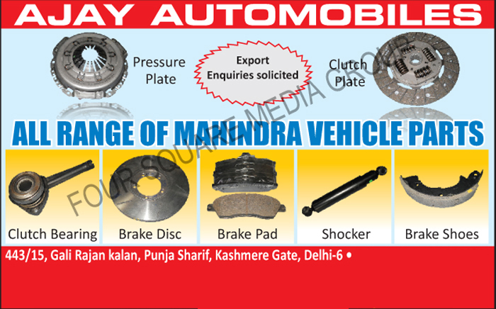 Pressure Plates, Clutch Plates, Clutch Bearings, Brake Discs, Shockers, Brake Shoes, Brake Pads,Automotive Parts