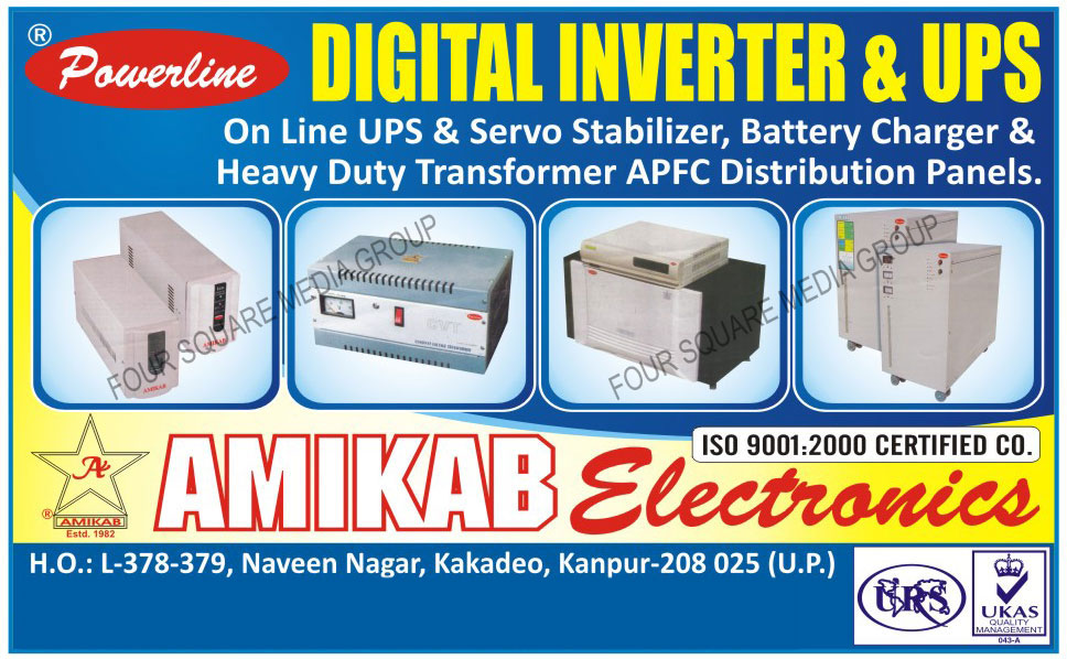 On Line Ups, One Line Servo Stabilizers, Heavy Duty Transformers, APFC Distribution Panels, Digital Inverters, Ups, Stabilizers, Battery Chargers, Distribution Panels, Inverters