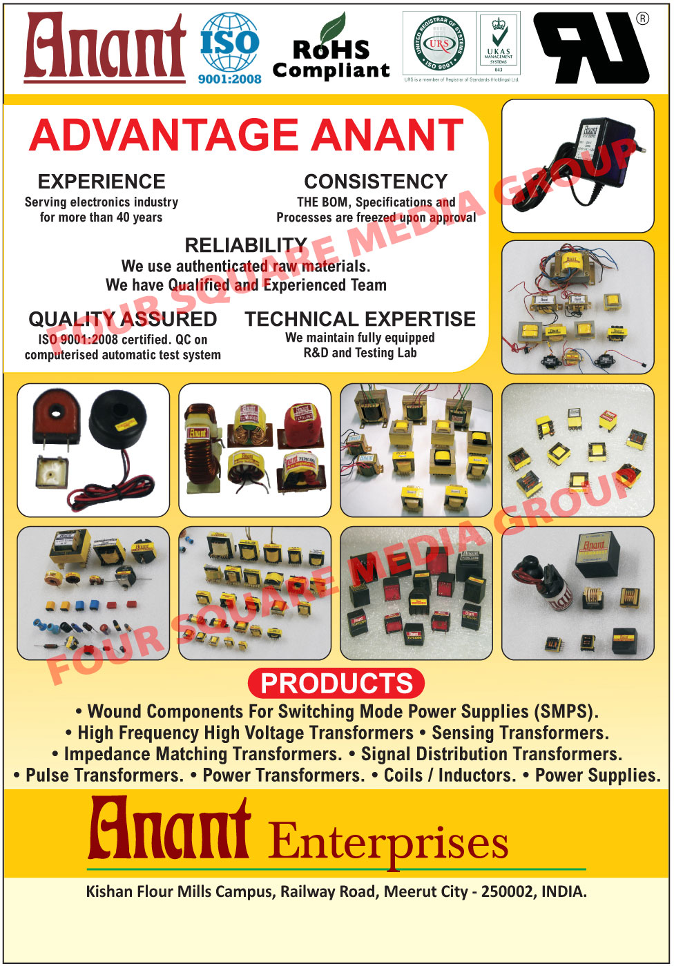Wound Components For Switching Mode Power Supplies, Wound Components For SMPS, High Voltage Transformers, Sensing Transformers, Impedance Matching Transformers, Signal Distribution Transformers, Pulse Transformers, Power Transformers, Coils, Inductors, Power Supplies