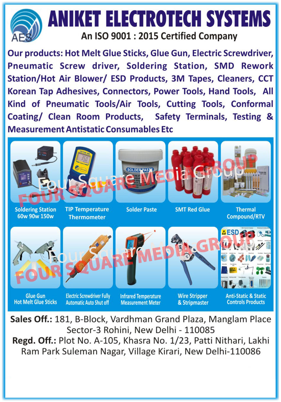 Hot Melt Glue Sticks, Glue Gun, Electric Screwdriver, Pneumatic Screwdriver, Soldering Station, SMD Rework Station, Hot Air Blower, ESD Product, 3M Tapes, Cleaner, CCT Korean Tap, CCT Korean Adhesive, Connectors, Power Tools, Hand Tools, Pneumatic Tools, Air Tools, Cutting Tools, Conformal Coating Product, Clean Room Product, Safety Terminal, Testing Consumable, Measurement Antistatic Consumable, Solder Paste, SMT Glue, Antistatic Control Product, Static Control Product