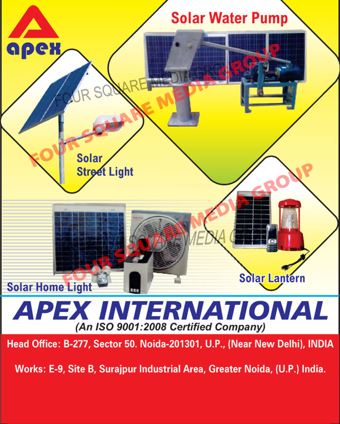 Solar Street Lights, Solar Water Pumps, Solar Home Lights, Solar Lanterns