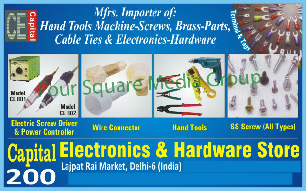 Hand Tools, Electric Screw Drivers, Machine Screws, Brass Parts, Cable Ties, Electronics Hardware, Stainless Steel Screws, Terminals, Tags, Electronic Power Controllers