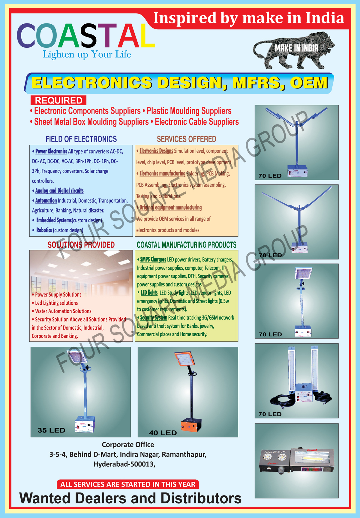 Led Lights, SMPS Chargers, Led Power Drivers, Battery Chargers, Industrial Power Supplies, Computer Power Supplies, Telecom Power Supplies, IT Equipment Power Supplies, DTH Power Supplies, Security Power Supplies, Led Lights, Led Study Lights, Led Vendor Lights, Led Emergency Lights, Led Street Lights, Led Domestic Lights, Security Systems, AC to DC Converters, DC to AC Converters, DC to DC Converters, AC to AC Converters, Solar Charger Controllers, Analog Circuits, Digital Circuits, Embedded Systems, Robotics, Electronics Designs, Soldering, Printed Circuit Board Making, Printed Circuit Board Assemblies, 3G Network Based Anti Theft Systems, GSM Network Based Anti Theft Systems, Automation Services, Industrial Automations, Domestic Automations, Transportation Automations, Agriculture Automations, Banking Automations, Natural Disaster Automations, Frequency Converters, Led Hospital Signs, Led Pharmacy Signs