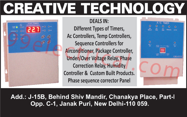 AC Controllers, Sequence Controllers, Temperature Controllers, Timers, Air Conditioner Sequence Controllers, Package Controllers, Under Voltage Relays, Over Voltage Relays, Phase Correction Relay, Humidity Controller, Customized Products, Temp Controllers, Phase Sequence Corrector Panels, Electrical Products, AC Controllers, Sequence Controllers, Custom Built Products