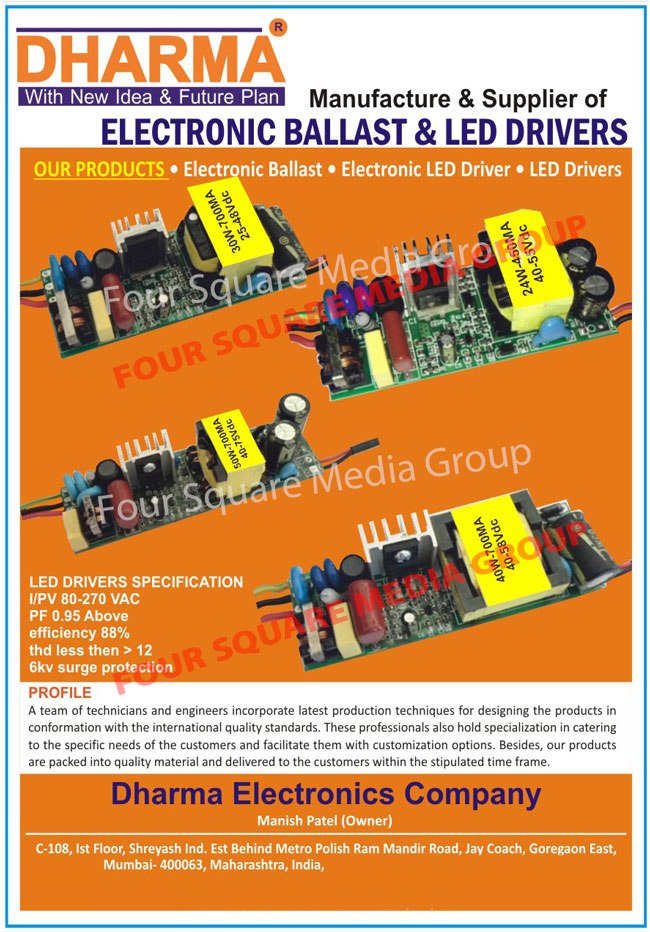 Led Drivers, Electronic Ballasts, Electronic Led Drivers