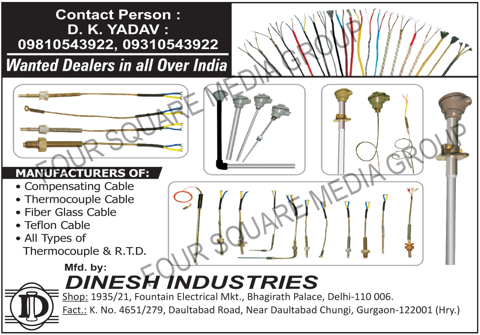 Compensating Cables, Thermocouple Cables, Fiber Glass Cables, Teflon Cables, Thermocouples, RTD, Fibre Glass Cables