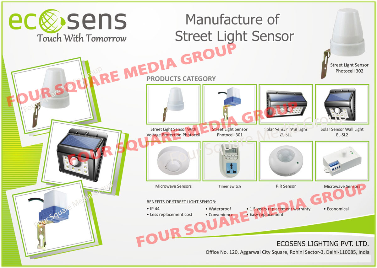 Street Light Sensors, Solar Sensor Wall Lights, Microwave Sensors, Timer Switches, PIR Sensors, Microwave Sensors