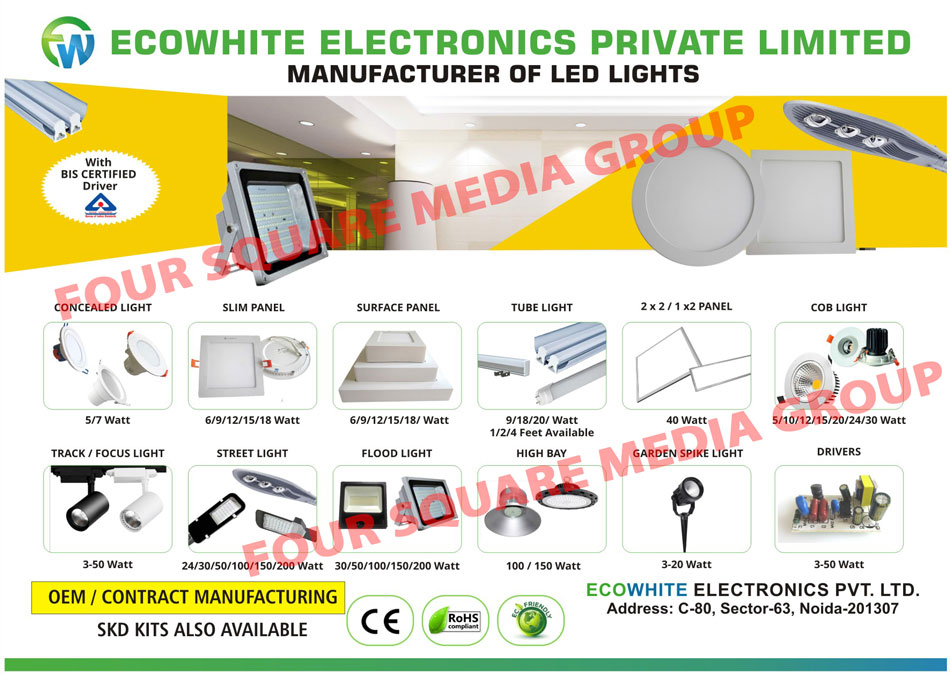 Led Lights, Flood Lights, Street Lights, Down Lights, Tube Lights, Slim Panels, Slim Panel Lights, Surface Panels, Surface Panel Lights, SKD Kits, Concealed Lights, COB Lights, Track Lights, High Bay Lights, Garden Spike Lights, Led Drivers, Led Focus Lights