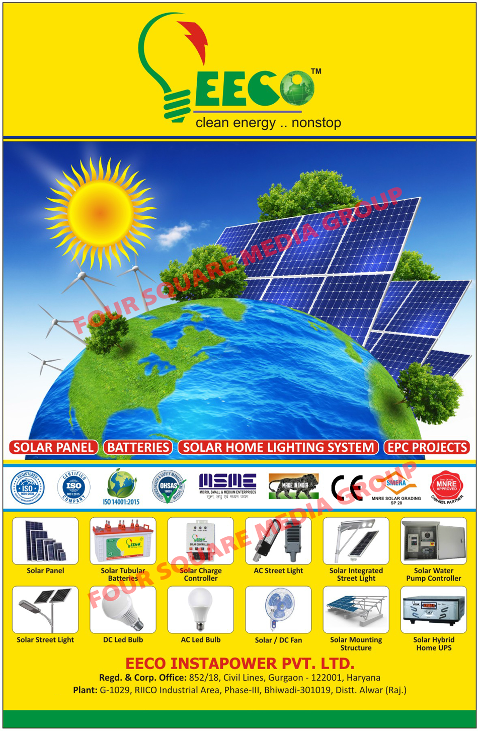 Solar Panels, Solar Tubular Batteries, Solar Charge Controllers, AC Street Lights, Solar Integrated Street Lights, Solar Water Pump Controllers, Solar Street Lights, DC Led Bulbs, AC Led Bulbs, Solar Fans, DC Fans, Solar Mounting Structures, Solar Hybrid Home UPS, Solar Home Lighting Systems