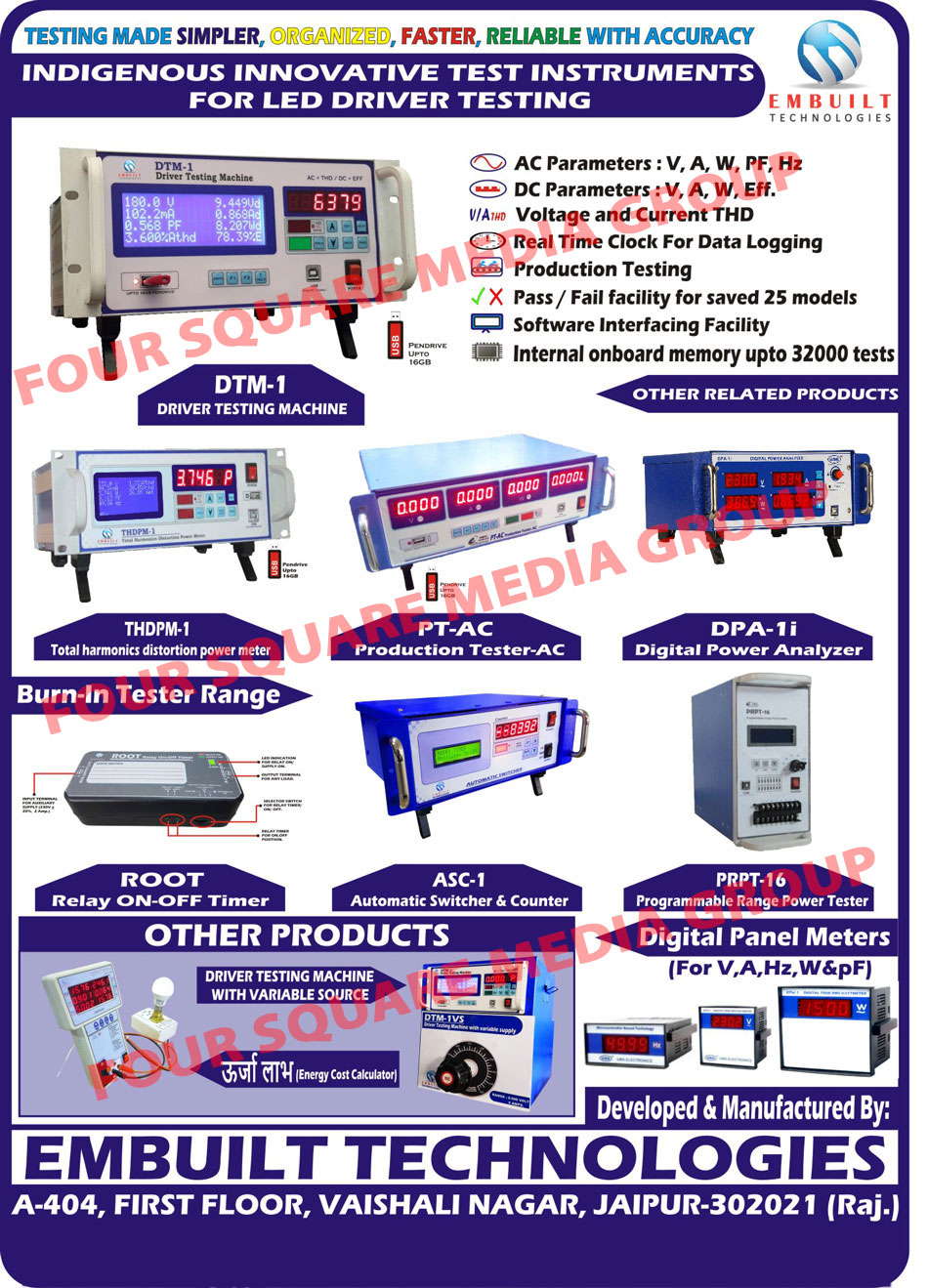 Led Driver Testing Instruments, Driver Testing Machine, Digital Panel Meter, Programmable Range Power Tester, Automatic Switcher, Automatic Counter, Relay On Off Timer, Digital Power Analyzer, AC Production Tester, Total Harmonic Distortion Power Meter