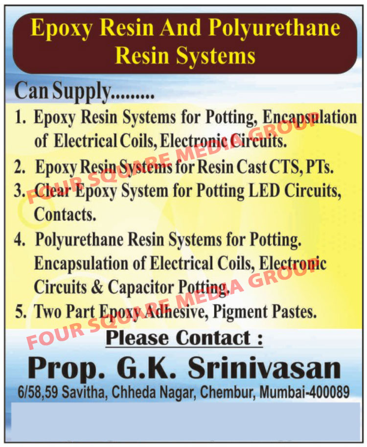 Epoxy Resin Systems, Polyurethane Resin Systems, Two Part Epoxy Adhesives, Pigment Pastes, Clear Epoxy Systems
