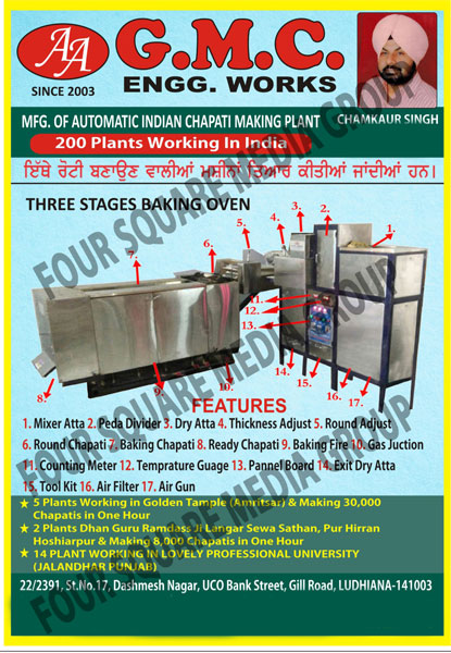 Arabic Bread System, LPG Indian Chapati Equipment, Bakery Equipments, Chapati Making Machines, Roti Making Machines, Automatic Indian Chapati Making Plants, Three Stage Baking Ovens
