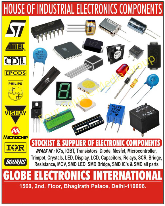 Electronic Components, Integrated Circuits, IC Base, Integrated Circuit Base, Transistors, Diodes, Mosfets, IGBT, Micro Controllers, Trimports, Crystals, LED  Display, LCD, Capacitors, Relays, Ceramic Capacitors, Resistance, SMD Parts,ICs, MOV Parts