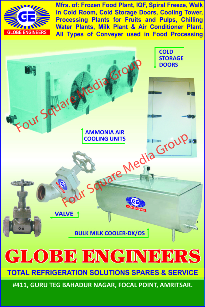 Ammonia Air Cooling Units, Cold Storage Doors, Valves, Bulk Milk Coolers, Frozen Food Plants, Spiral Freeze, Cooling Towers, Fruit Processing Plants, Pulp Processing Plants, Chilling Water Plants, Milk Plants, Air Conditioner Plants, Food Processing Conveyors, Refrigeration Solutions, Refrigeration Spares, Refrigeration Services