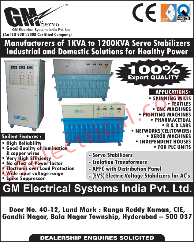 Servo Stabilizers, Industrial Stabilizers, Isolation Transformers, Ac Electric Voltage Stabilizers, Distribution Panels,Electrical Products, Stabilizers, Electrical Panels, Electronic Voltage Stabilizers