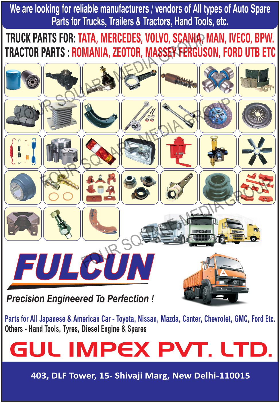 Truck Parts, Tractor Parts, Car Parts, Hand Tools, Tyres, Diesel Engines, Automotive Spare Parts