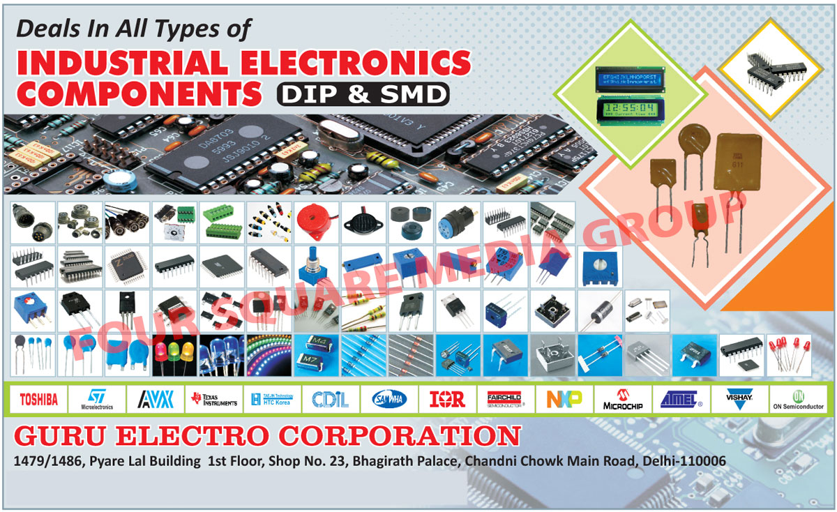 Industrial Electronic Components, SMD, Dip, Power Led, SMD Led, Led Driver Integrated Circuits, Short Key Diodes, MOV, VDR, Sensors, Mosfets, Helipot, PPTC, LDR, Integrated Circuits, ICs, Trimpot, Relays,  Capacitors, SMD Components, Diodes, Trim Pots Potentiometers, Transistors, Tantalum Capacitors, Integrated Circuits, Connectors, Integrated Circuit Sockets, DC to DC Converters, IGBTs, Resistances, Networks, Varistors, Capacitors, Led Display, Crystals, Oscillators