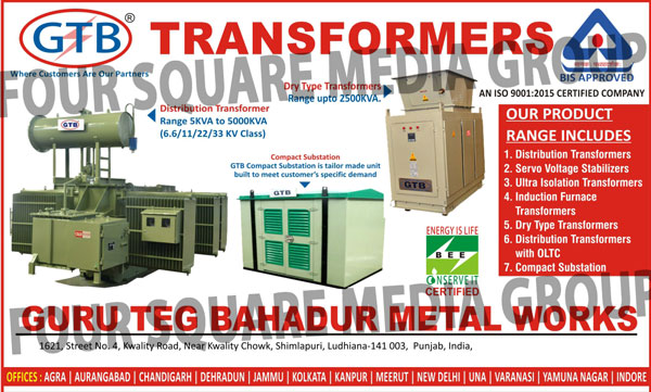 Distribution Transformers, Servo Voltage Stabilizers, Ultra Isolation Transformers, Induction Furnace Transformers, Special Purpose Transformers, Dry Type Transformers, Distribution Transformer with OLTC, Transformers, Online UPS, Compact Substation