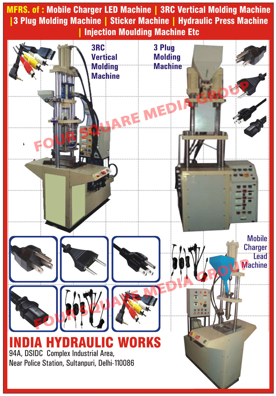 Rubber Hydraulic Press, Mobile Charger Single Barrel Machines, Double Colour PVC Sticker Machines, Injection Moulding Machines, Cord Moulding Machines, Plug Moulding Machines, Mobile Charger, 3 Plug Molding Machines, Mobile Charger Lead Machine, 3RC Vertical Molding Machine