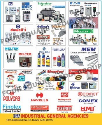 Cable Glands, Cable Trays, Relays, M SEAL Cable Jointing Kits, Cable Jointing Kits, PVC Tapes, PLA Relays, Power Capacitors, Solder Wires, AE Meters, Cable Ties, Marking Ferrule, Copper Cable Lugs, Aluminium Cable Lugs, Crimping Sockets, Thimbles, All Safety Products, Safety Jackets, Safety Masks, Safety Shoes, Safety Helmets, White Boards, PVC Spirals, Current Transformers, Potential Transformers, Crimping Tools,Spiral, Pvc Tapes, Pla Relays, Ac Meter, Heat Shrink Sleeves, Bath Fittings, Bathroom Fittings, Wires, Cables, DC 2-26 Acry Form Lectra Clean