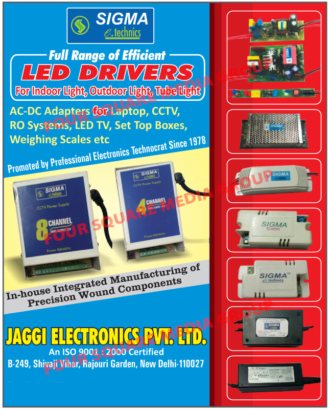 AC DC Adapters, Led Drivers, Indoor Light Led Drivers, Outdoor Light Led Drivers, Tube Light Led Drivers, Precision Wound Components
