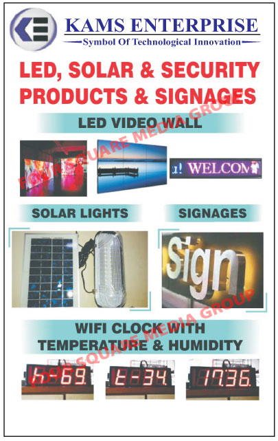 Led Panel Lights, WiFi Clocks, Token Led Displays, Queue Led Displays, Blue Tooth Speakers, Led Video Walls, Led Signages, Moving Message Led Display Boards, Solar Products, Solar Light And Mobile Chargers