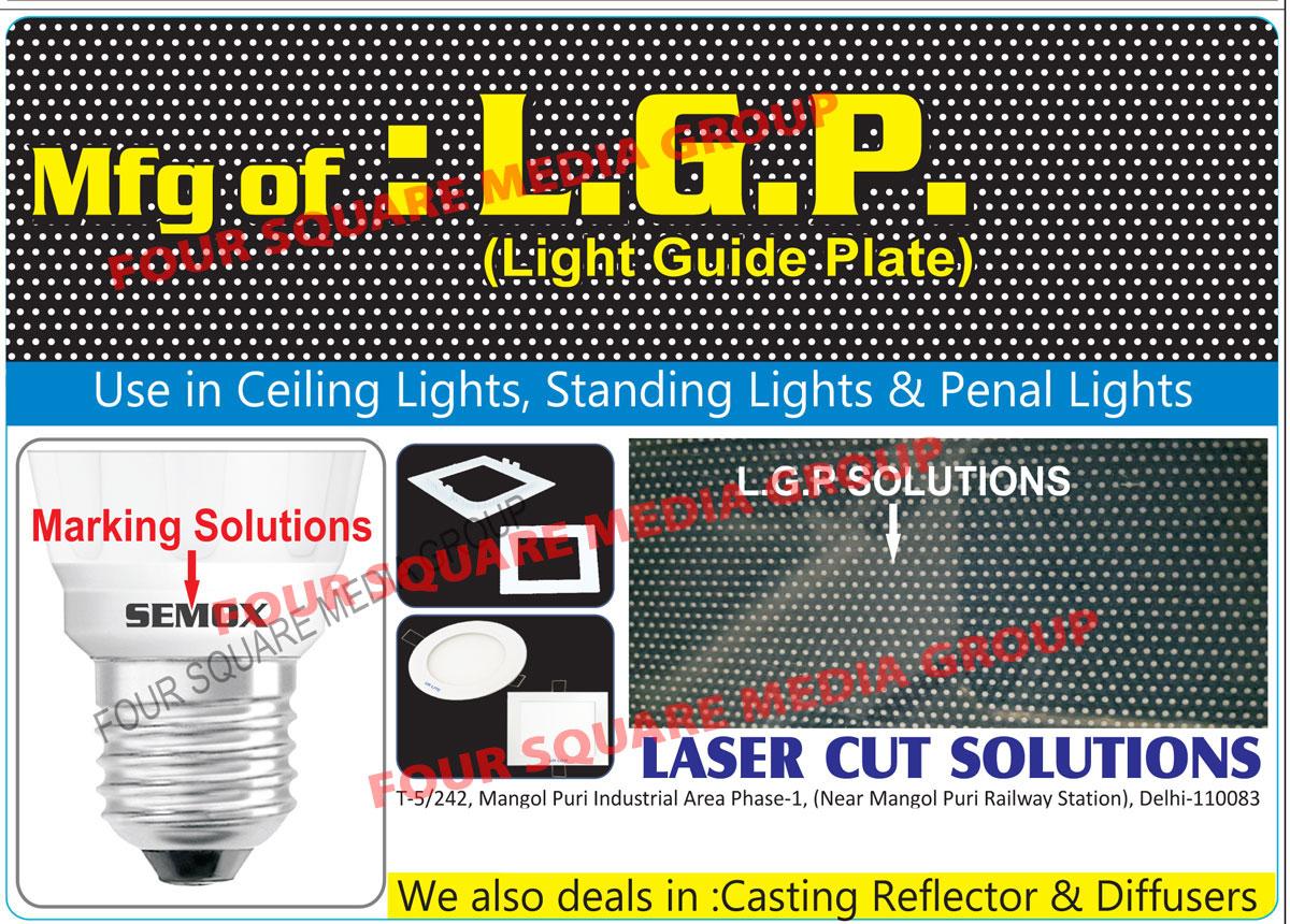 LGP, Light Guide Plates, Casting Reflectors, Diffusers