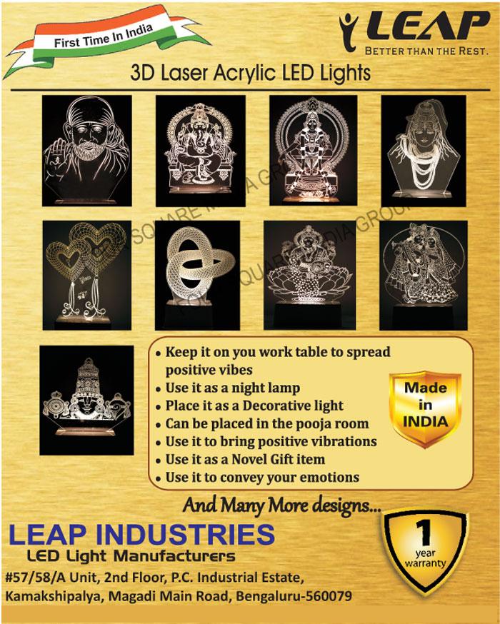 3D Laser Acrylic Led Lights