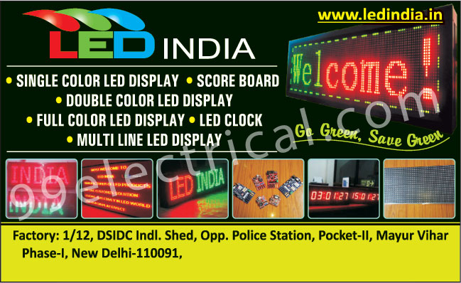 Single Colour Led Displays, Score Boards, Double Colour Led Display, Full Colour Led Display, Led Clocks Displays, Multi Line Led Displays, Single Color Led Displays, Double Color Led Displays,Electrical Products, Led Clock, Led Display, Multiline Led Display, Led Signage Board, Led Moving Message Display