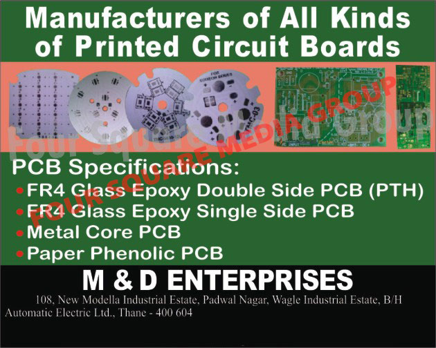 Printed Circuit Boards, FR4 Glass Epoxy Double Sided Printed Circuit Boards, FR4 Glass Epoxy Single Sided Printed Circuit Boards, Metal Core Printed Circuit Boards, Paper Phenolic Printed Circuit Boards