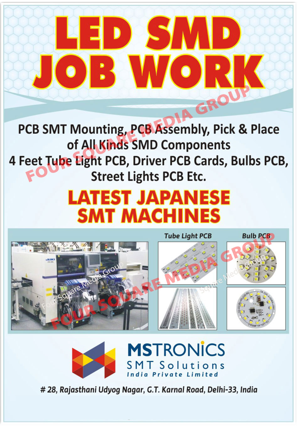 Led SMD Job Works, PCB SMT Mounting, PCB Assembly, SMD Component Pick Place Service, 4 Feet Tube Light PCB, Driver PCB Cards, Bulb PCB, Street Light PCB