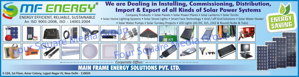 Solar Panels, Solar Power Plants, Solar Lanterns, Solar Torches, Solar Home Light Systems, Solar Street Lights, Solar Lights, Solar Water Heater, Led Lights, Solar Water Pump, Solar Turnkey Projects, Solar Grid Solution, Solar Off Grid Solution, LED Bulbs, LED Tube lights