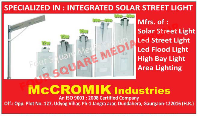 Integrated Solar Street Lights, Solar Street Lights, Led Street Lights, Led Flood Lights, High Bay Lights, Area Lights