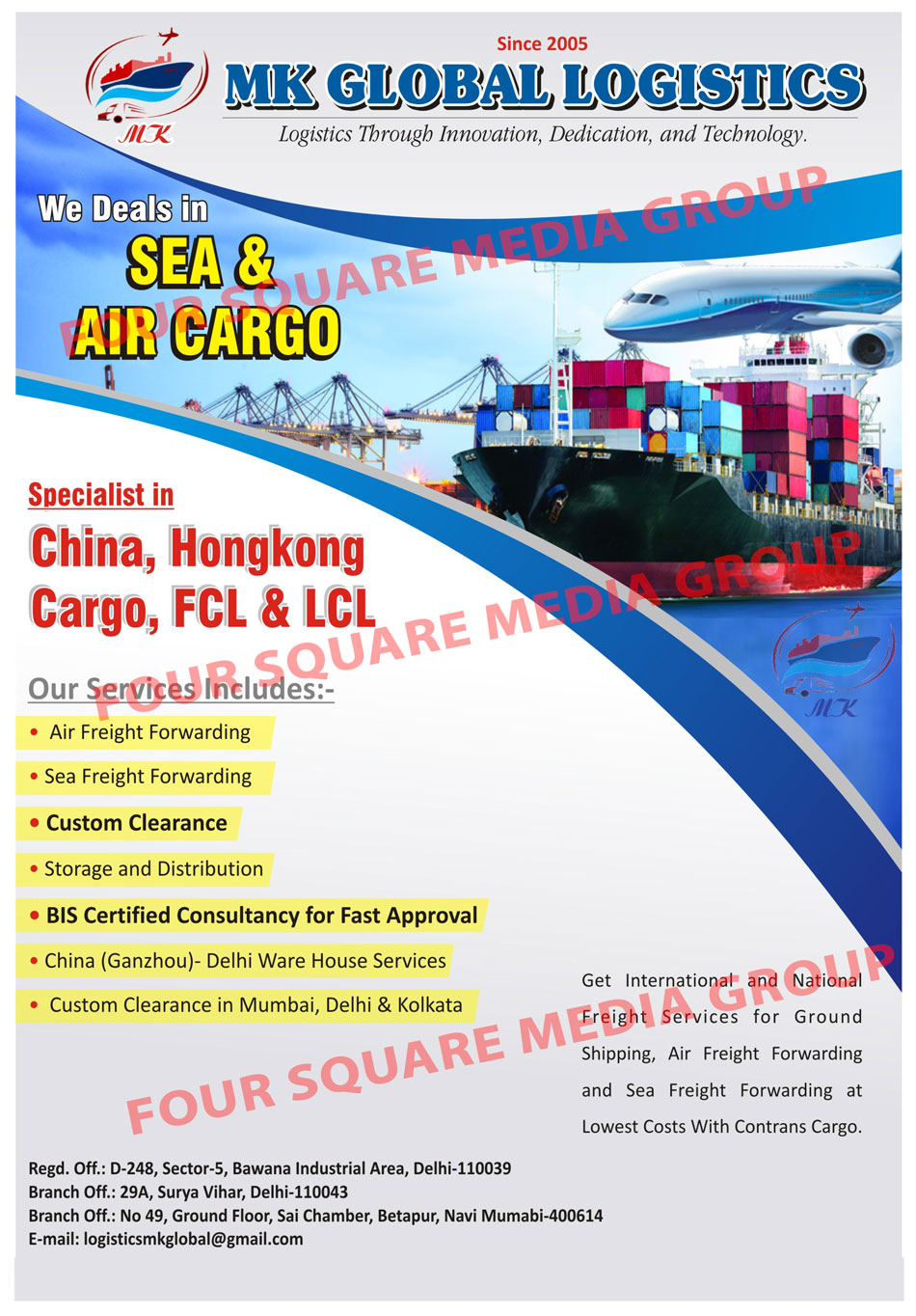Sea Cargo Services, Air Cargo Services, Freight Services