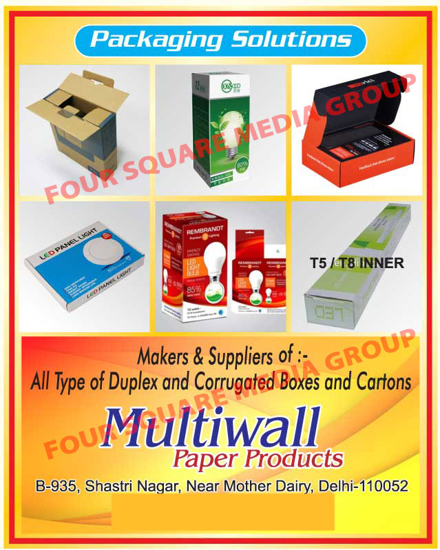 Packaging Products, Duplex Boxes, Corrugated Boxes, Cartons, T5 Inners, T8 Inners