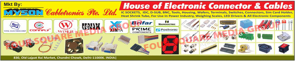 Connectors, Electronic Connector, Cables, Integrated Circuit Sockets, Electronic IDC, D SUB, BNC, Tools For Power Industry, Electronic Housing, Electronic Switches, Sim Card Holders, Heat Shrink Tubes, Fuses, LED, Relay, Buzzer, Display, Electronic Components, Weighing Scales, LED Drivers, Electronic Wafers, Electronic Housing, Electronic Cables, IC Sockets, Wire Harness, Terminal Blocks, Cooling Fans, Led Connectors, Rocker Switches