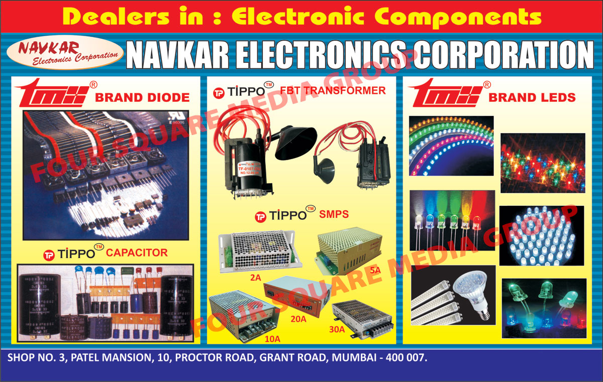 Electronic Components, FBT Transformers, Capacitors, SMPS, Diode, Power Led Lenses, LEDS