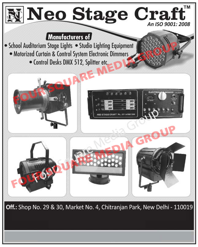 School Auditorium Stage Lights, Studio Lighting Equipments, Motorized Curtain And Control System Electronic Dimmers, Control Desk, Splitters