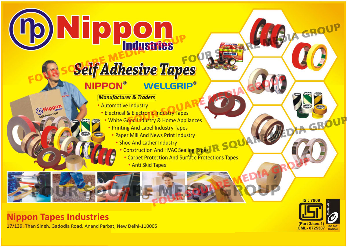 PVC Insulation Tapes, Polyester Tapes, Double Sided Tissue Tapes, Floor Marking Tapes, PE Foam Tapes, Acrylic Foam Tapes, Filament Tapes, EVA Foam Tapes, Electrical Tapes, Electronic Tapes, Printing Industry Tapes, Label Industry Tapes, Lather Industry Tapes, Construction Tapes, Hvac Sealing Tapes, Carpet Protection Tapes, Surface Protection Tapes, Anti Skid Tapes, Shoe Industry Tapes, Paper Mill Industry Tapes, Paper Print Industry Tapes, Carpet Protection Tapes, Surface Protection Tapes, Anti Skid Tapes, Reinforcement Paper Tapes, Automotive Industry Tapes, Electrical Industry Tapes, Electronic Industry Tapes, White Goods Industry Tapes, Home Appliances Industry Tapes, Aluminium Foil Tapes, Self Adhesive Tapes