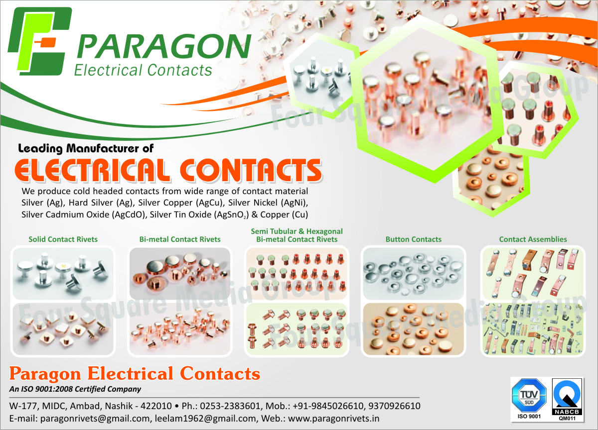 Electrical Contacts, Cold Headed Contacts, Solid Contact Rivets, Bimetal Contact Rivets, Bi-Metal Contact Rivets, Button Contacts, Contact Assembly, Contact Assemblies, Semi Tubular Bimetal Contact Rivets, Semi Tubular Bi-Metal Contact Rivets, Hexagonal Bimetal Contact Rivets, Hexagonal Bi-Metal Contact Rivets