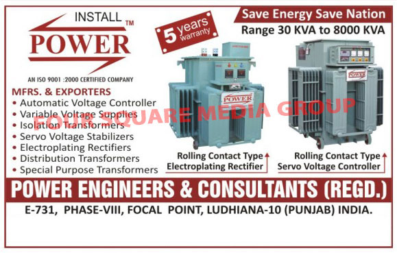 Electrical Products, Distribution Transformer, Isolation Transformers, Servo Voltage Stabilizer, Special Purpose Transformers, Variable Voltage Supplies, Automatic Voltage Controller, Electroplating Rectifiers, Electric Transformers, Electro Plating Rectifiers, Servo Voltage Controllers