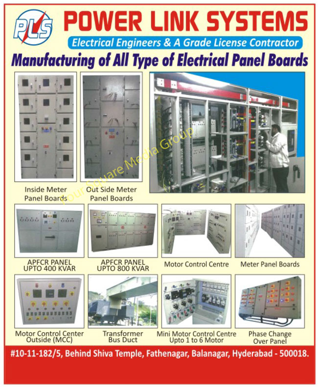 Electrical Panel Boards, Inside Meter Panel Boards, Out Side Meter Panel Boards, APFCR Panels, Motor Control Centre, Meter Panel Boards, Motor Control Center Outside, MCC, Transformer Bus Ducts, Mini Motor Control Centre, Phase Change Over Panels