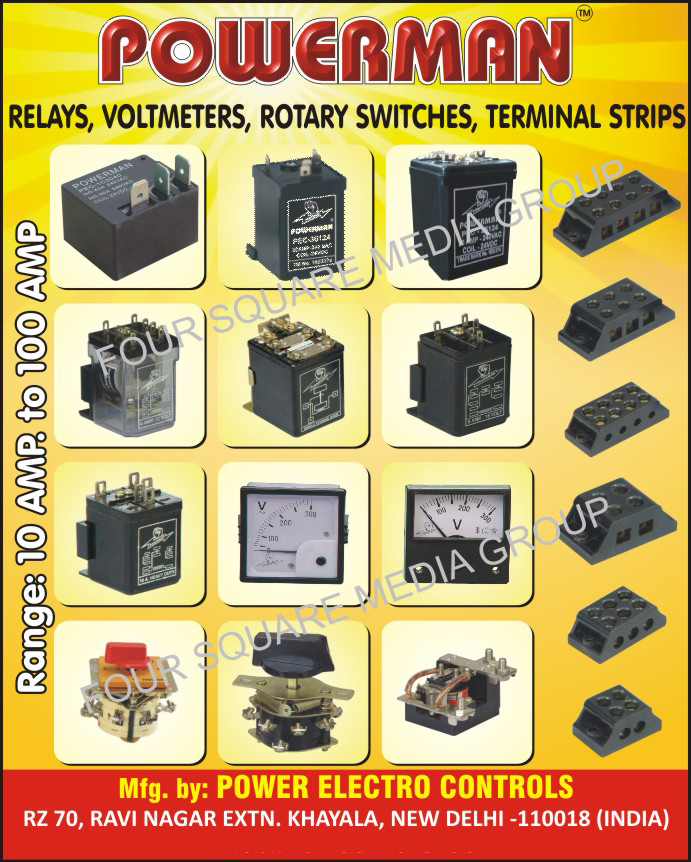 DC Relays, Rotary Switches, Terminal Strips, Electronic Volts, Ammeters, Volt Ammeter, Voltmeters, DC Contactors, MCB