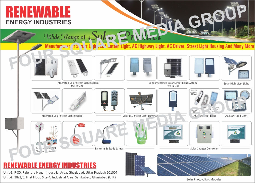 Solar Products, Solar Flasher Poles, Solar Lawn Lamps, Solar Garden Lights, Solar Flash Lights, Solar Led Street Lights, Solar Mobile Chargers, Solar Power Plant, Solar Home Lightings, Solar Water Heaters, Solar Charge Controllers, Solar Lanterns, Light Cabinet Body, Light Casings, Solar DC Lights, Solar Lantern PCB, Solar Lantern Printed Circuit Boards, Solar Inverters, Solar Street Lights