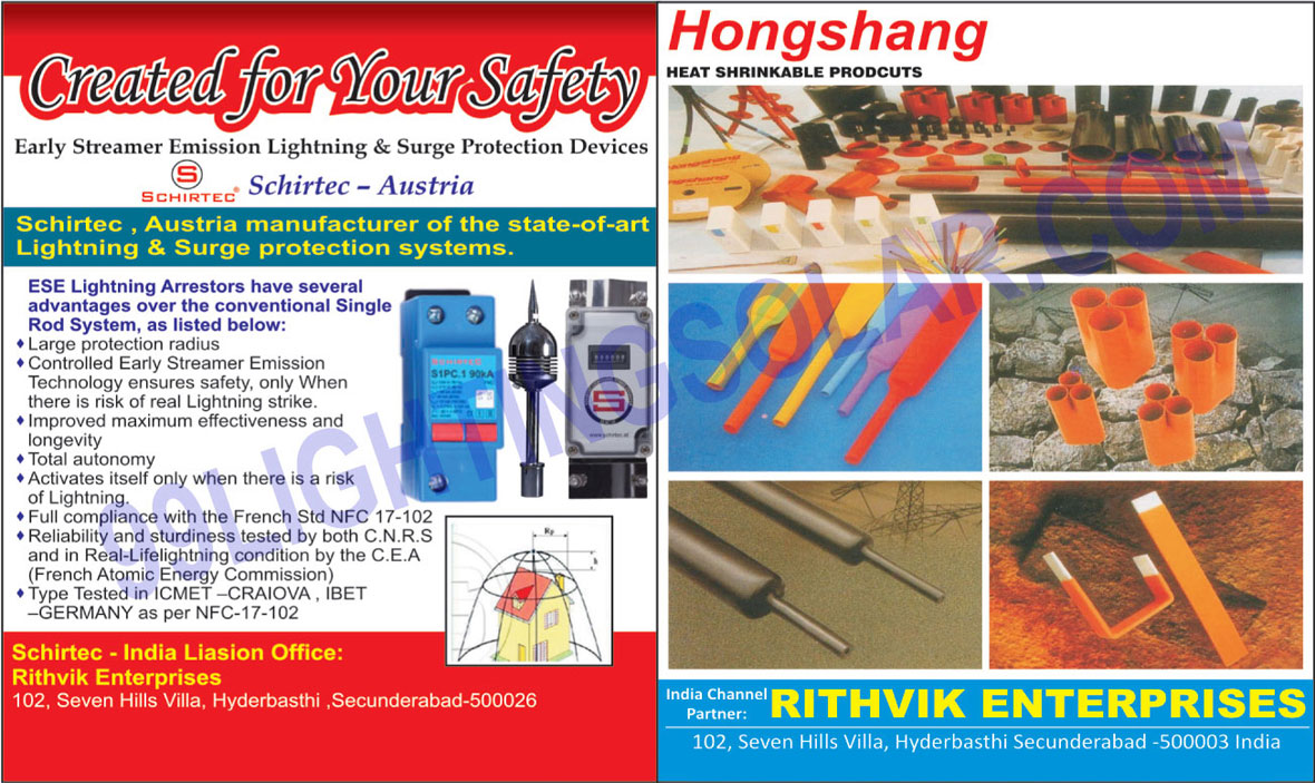 Surge Protection Devices, Streamer Emission Lightning,Early Streamer Emission Lightning, Heat Shrinkable Products, Lightning Protection Systems, Wires, Cables, LT Capacitor, HT Capacitors, Circuit Breakers, Led Aviation, Industrial Lighting Fixtures