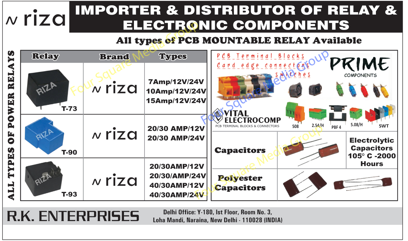 Capacitor, Electronic Components, Relays, Polyester Capacitor, Electrolytic Capacitors, Printed Circuit Board Mountable Relay, Power Relay, Printed Circuit Board Terminals, Printed Circuit Board Blocks, Printed Circuit Board Connectors,PCB Mountable Relay