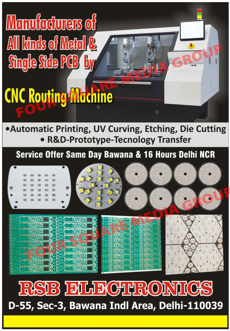 Metal Core PCB, Single Side PCB, Metal Core Printed Circuit Board, Single Side Printed Circuit Board, MCPCB, PCB Printing Services, PCB UV Curving, PCB Etching Die Cutting Services, PCB R And D Prototype Technology Transfer Services, UV Curving, Printing Services, Cnc Routing Machines