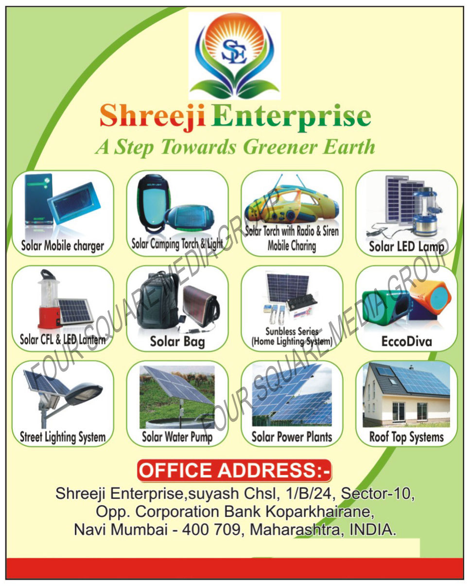 Solar Mobile Chargers, Solar Camping Torches, Solar Camping Lights, Solar Led Lamps, Solar CFl Lanterns, Solar Led Lanterns, Solar Bags, Home Light Systems, Sun Bless Series, Eccodiva, Street Light Systems, Solar Water Pumps, Rooftop Systems